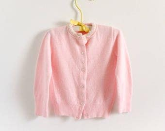 """Vintage 1950s Girls Size 12M Sweater / Pink Soft Cardigan Embroidered Flowers / b21"""" length 12"""""""