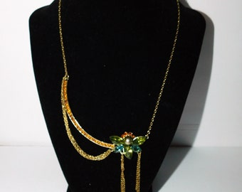 Vintage Rhinestone Butterfly Necklace with Rhinestone Bar and Dangling Chains Accents Nine West