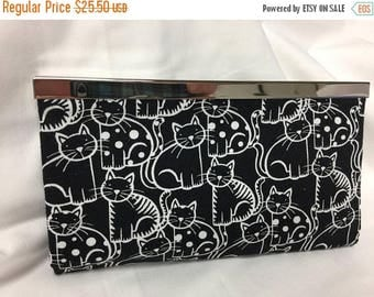 CHRISTMASINJULY SALE Cats Black and White Fabric Wallet Fashion Wallet Credit Card Holder Cats Diva Wallet