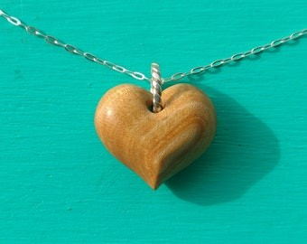 Tiny Heart Pendant Hand Carved in Exotic Satin Wood with Sterling Silver Chain, Gift for Her, Valentine's Day, Anniversary Gift