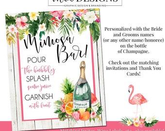 Mimosa Bar Sign, Tropical Sign, Bridal Shower Invitation, Brunch Invite, Party Invitation, Birthday, Summer BBQ Invite, Luau Invite