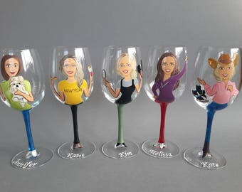 Hand painted Bridal party Personalized glasses Caricatures Portraits for Friends