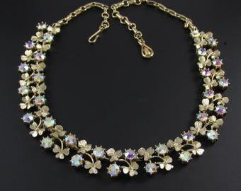 Coro Shamrock Necklace, Coro Necklace, Rhinestone Necklace, Irish Necklace, St. Patrick's Day Jewelry, Shamrock Jewelry, Gold Necklace