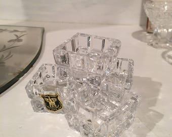 Antique Salt Cellars ~ Lead Crystal Salt Bowls ~ Vintage Square Shaped Cellars ~ western Germany ~ Gift For Her ~ Victorian