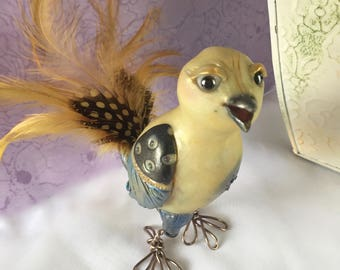 Fanciful Yellow Canary Figurine -  Charlie Bird  - Whimsical OOAK Polymer Clay Bird Sculpture -Happy Art, handmade one-of-a-kind