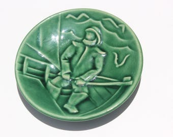 Vintage Mid Century Modern Green Ceramic Norway Fisherman Pottery Plate Trivet