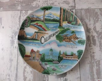 Vintage Plate California Hand Painted Souvenir State Japan Decorative Collector Travel Vacation CA Wall Decor