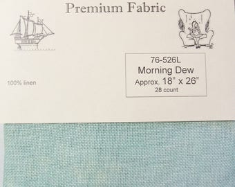 "Wichelt Hand Dyed 100% Linen Morning Dew Seafoam 28 Ct 18"" x 26"" Cross Stitch Fabric"