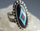 Onyx Turquoise Sterling Southwestern Inlay Ring