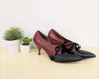 Vintage 1950s Stilettos Black and Brown Leather High Heels 50s Pointy Toe Pumps Two Tone Heels Cut Out Pumps Valentine Womens Size 8.5