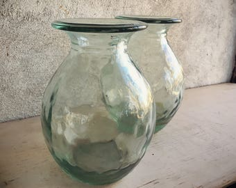 Two Glass Vases Set Bohemian Decor, Glass Vase Vintage, Mexican Decor, Farm Table Decor