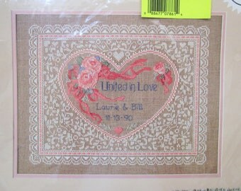 Dimensions Counted Cross Stitch Kit, Lacy Heart Wedding Record, 1989