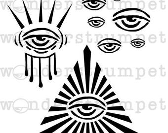 Freaky Eyes Stencil