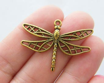 8 Dragonfly charms antique gold tone GC31
