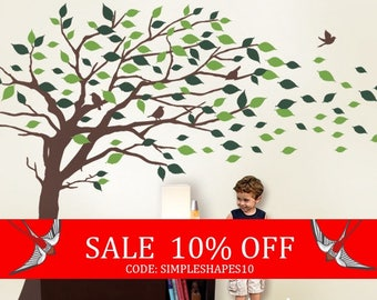 Summer Sale - Wall Decals Tree wall decal: Elegant Style Blowing Leaves Tree Decal for Baby Nursery or Home