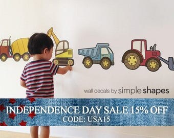 Independence Day Sale - Construction Vehicle - Peel and Stick Repositionable Stickers