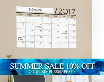 Unique Dry Erase Board Decal - 2017 Wall Calendar - Vinyl Wall Sticker