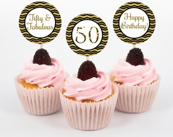 Fifty and Fabulous Cupcake Toppers, 50th Birthday Party, 50th Cupcake Topper, Cupcake Topper, Gold Black Cupcake Topper, Gold Black Birthday