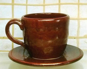 Iron Red Espresso Cup with Saucer