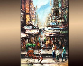 Acrylic City Painting On Canvas Palette Knife Original Textured Art By Henry Parsinia Ready To Hang