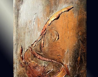 Original Contemporary Rich Textured Modern Metallic Silver, Copper ,Gold Abstract Painting by Henry Parsinia 30x24
