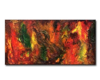 Original Modern Textured Abstract Palette knife Chelo Painting by Henry Parsinia 48x24