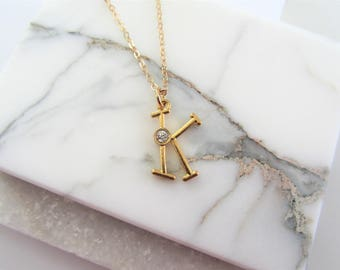 Monogram Letter Necklace with Crystal,Letter Initial Necklace,Bridesmaid Necklace Gift,Personalized Gift,Gold Charm Necklace,Gift for Her