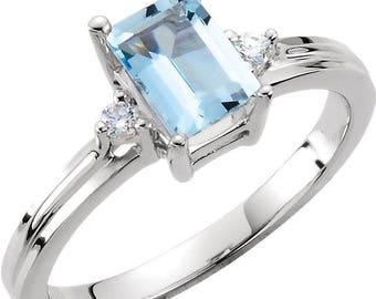 Aquamarine & Diamond Unique Engagement Ring, Alternative Engagement, March Birthstone Ring