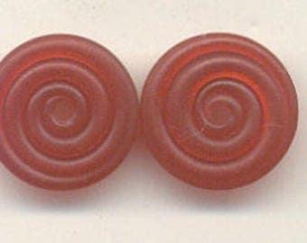 16mm range, Tom's lampwork transparent satin (etched) frosted garnet red 2 disc spacer/drops set, 1 pair 95744-2