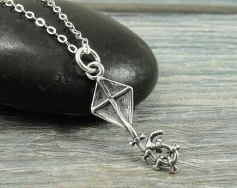 Kite Necklace, Sterling Silver Kite Charm on a Silver Cable Chain