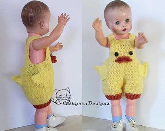 Ducking Overall Shorties, Rompers, Buttons at Legs for Easy Change - INSTANT DOWNLOAD Crochet Pattern