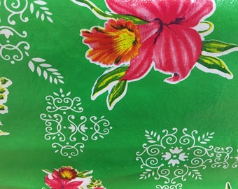 Floral Mexican Oilcloth Vinyl Plastic Pattern Green