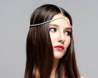 Jennifer Boho Bohemian Goddess Vintage Jeweled Gatsby wedding Headband Head Piece Forehead Headdress