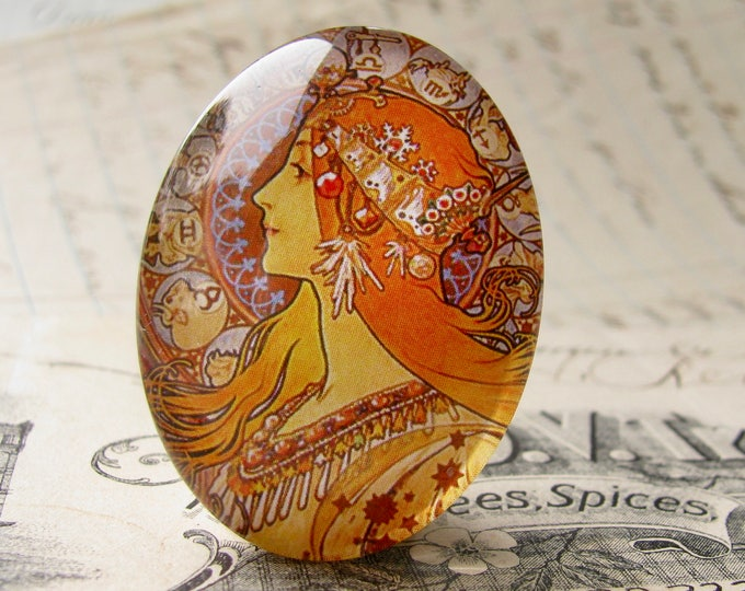 "From our Art Nouveau collection, Mucha's  ""Zodiac"" print, Zodiaque, 1896, handmade cabochon, 40x30mm, glass oval face cabochon, orange"