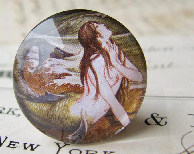 Japanese mermaid, vintage illustration, Asian art 25mm round glass cabochon, 1 inch circle, bottle cap size, Magical Maidens collection