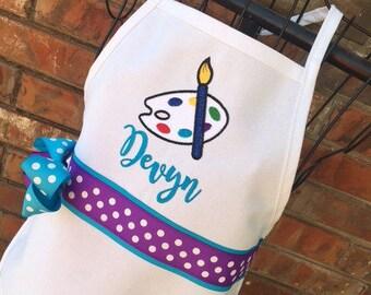Artist Palette Apron, Personalized Embroidery, Paint Party Apron, Birthday Party Favor Apron, Paint Apron, Art Teacher Gift