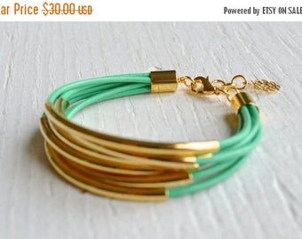 25% OFF - Mint Leather Cuff Bracelet with Gold Tube Beads - Minamalist Design Multi Strand Bangle Women's Bracelet ... by  B A L O O S