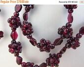 ON SALE Vintage Tumbled Garnet Gemstone Cluster Necklace