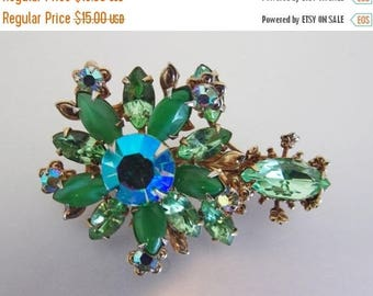 ON SALE ON Sale Pretty Vintage Sparkling Green and Ab Rhinestone Brooch