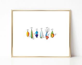 Fishing Lure Print, Colorful PRINTABLE Nursery Art, Instant Download Print, Printable Wall Art, Line Drawing Print, Modern Art, Fish Print