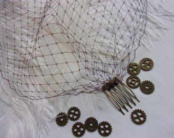 Dark Mocha Chocolate Brown Fine Russian Birdcage Vintage Steampunk Bandeau Wedding Bridal Veil - Comb Attachment- Made to Order