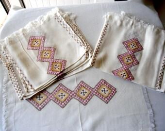 Vintage linen placemat napkin set, retro shabby chic kitchen fabric 8 pieces
