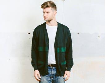 Men Sweater Cardigan . 80s Knit Jacket Sweater Green Soft Knit Jacket Vintage Winter Sweater Button Down Cardigan . size Medium