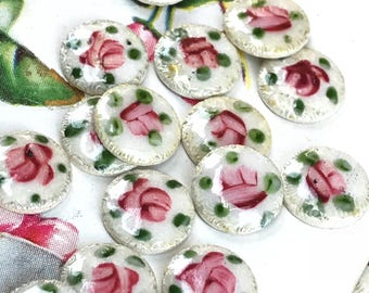 6 Vintage Floral Guilloche cabochons,8mm Vintage guilloche,Enamel Cabochons,shabby chic cabochons, cottage chic findings G22F