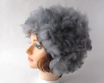 Felted hat Grey Alpaca hat Grey animal hat Felt fluffy warm hat white Wool Hat Fur Winter Warm felt hat outdoors gift