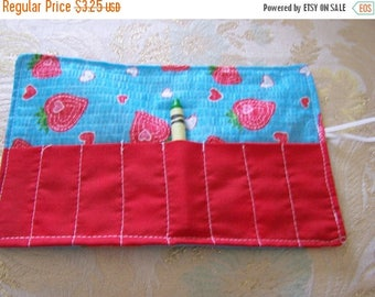Sale Late summer SALE Crayon roll cozy holder Strawberry in blue More crayon rolls in shop