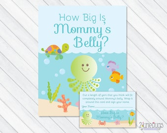 Under the Sea How Big Is Mommy's Belly Baby Shower Game, Blue Belly Guessing Game, Guess Mommy's Belly Size, PRINTABLE INSTANT DOWNLOAD