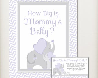 Purple Elephant How Big is Mommys Belly Baby Shower Guessing Game, Purple Gray Chevron, Neutral Baby Shower, PRiNTABLE INSTANT DOWNLOAD