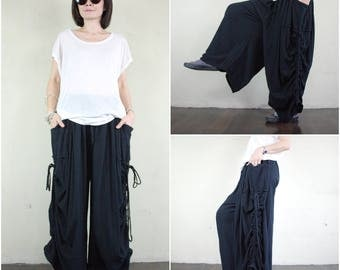 Love Me..Love Me Not IV - Steampunk Black Cotton Wide Leg Pants With 2 Roomy Pockets & Side Ruching