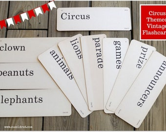 Circus Themed Vintage Flashcards set of 10